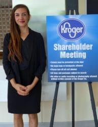 Shareholder Advocate Kate Kroll at the Kroger shareholder meeting on June 22, 2017.