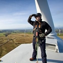 Wind Turbine Man Square