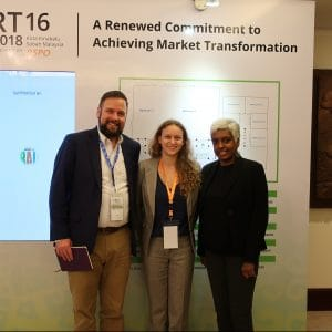 Left: Dan Strechay, U.S. Representative, RSPO, Green Century Shareholder Advocate Jessye Waxman, and Wathshlah Naidu, senior manager – grievance, RSPO, at the RSPO conference, in November 2018, in Kota Kinabalu, Sabah, Malaysia.